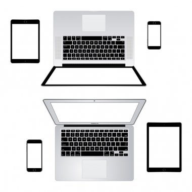 Modern laptop, phone, tablet