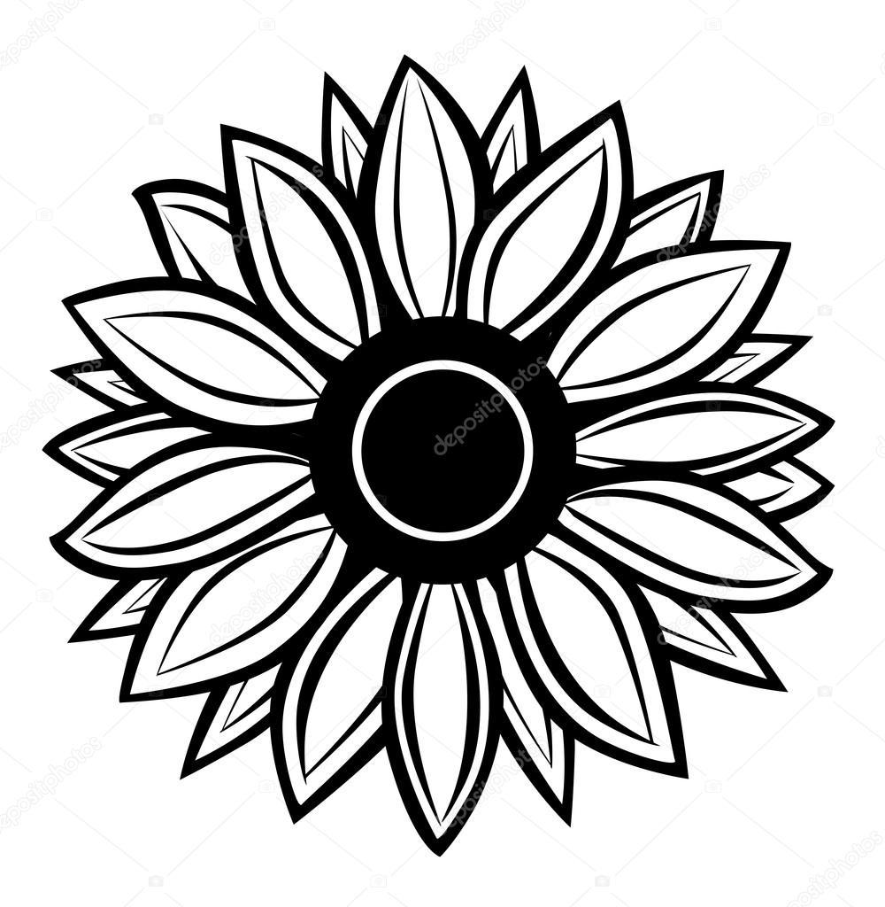Line Art Icon : Sunflower vector line art flower inspiration