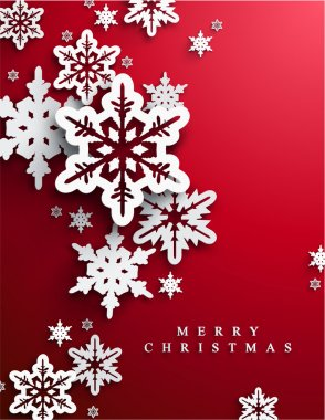 Christmas red background with paper snowflakes