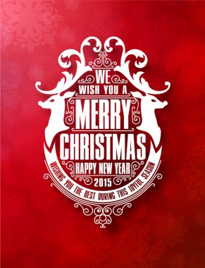 Christmas vector frame with Merry Christmas and Happy Holidays wishes on red background clip art vector