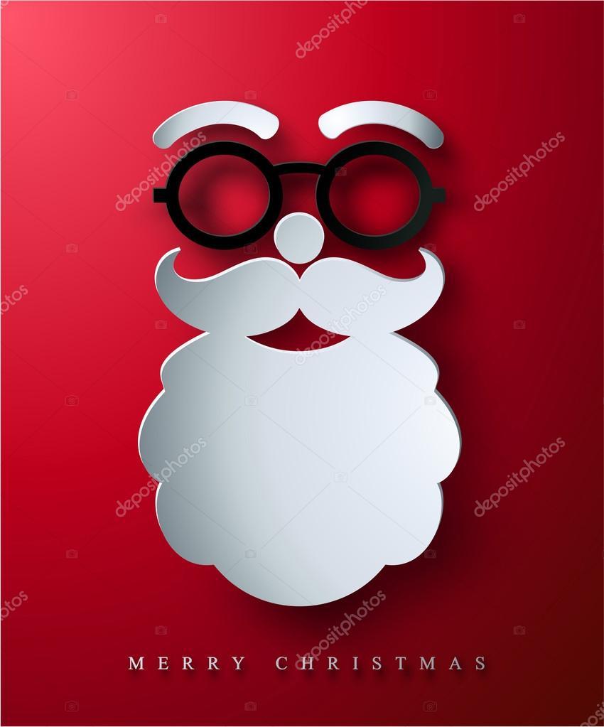 christmas postcard with paper santa s face stock vector devor