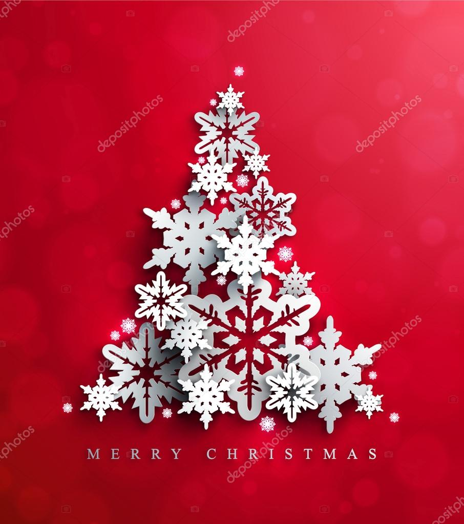 Christmas and New Years Card with Christmas Tree made of decorative cutout snowflakes on the bright red background.