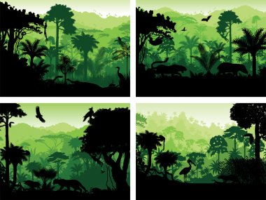set of vector rainforest animals silhouettes design templates