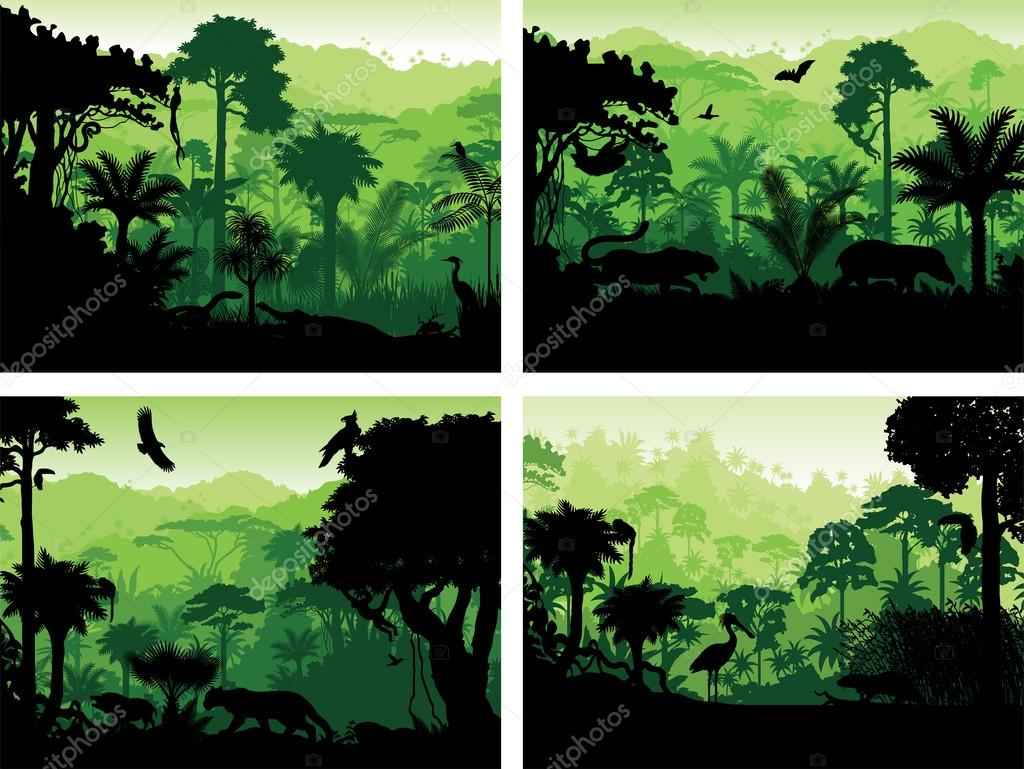 Set Of Vector Rainforest Animals Silhouettes Design Templates Stock
