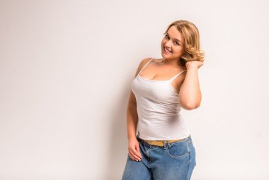 Fat woman dieting