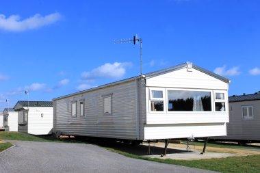 Caravan on a trailer park in summer