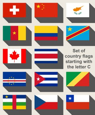 Set of country flags starting with the letter C
