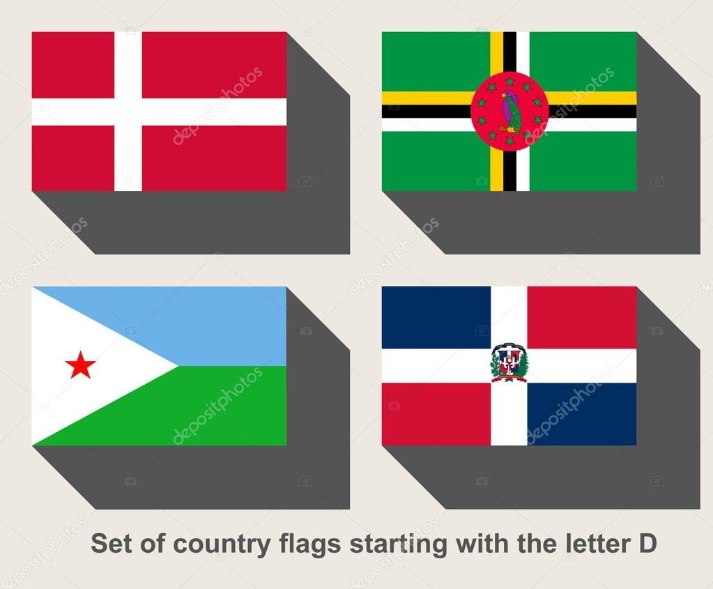 Set of country flags starting with the letter D — Stock