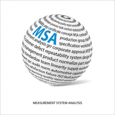 Measurement system analysis word ball. White ball with main title MSA and filled by other words related with MSA method. Vector illustration clip art vector