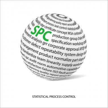 Statistical process control word ball. White ball with main title SPC and filled by other words related with SPC method. Vector illustration clip art vector