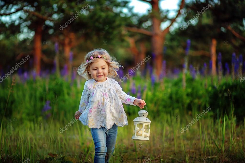 File Cyndi Blue Hair 2000 Jpg: Beautiful Little Girl With Blue Flowers On The Field