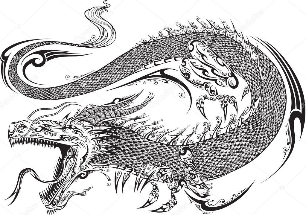 vector Dragon doodle sketch del tatuaje — Vector de stock ...