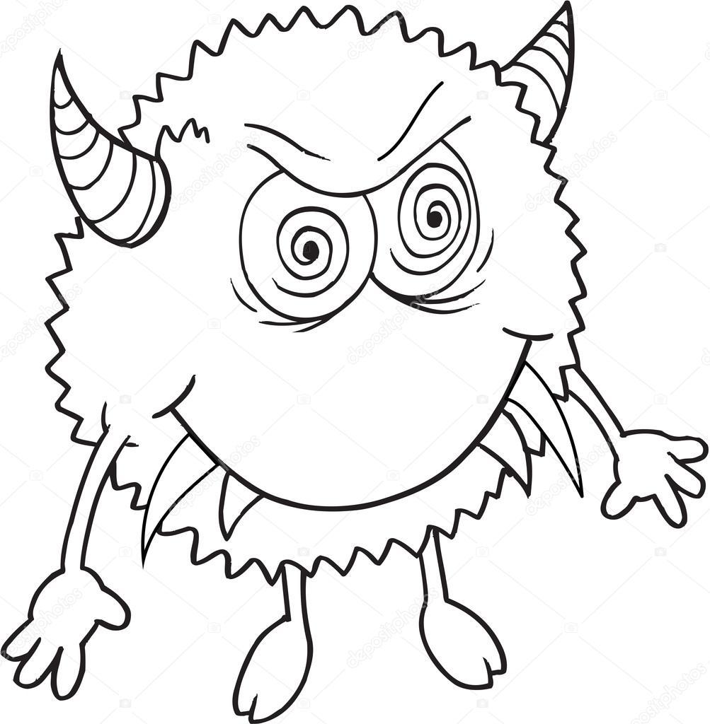 Süße Monster wütend Doodle Vector Illustrationskunst — Stockvektor ...