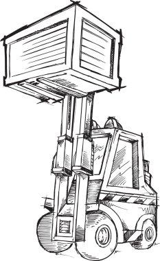 Sketch Doodle Forklift Vector Illustration Art