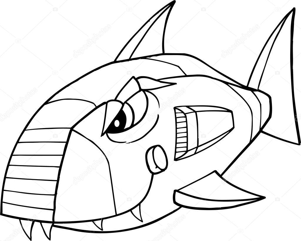 Robot Köpek Balığı Vektör çizim Sanat Stok Vektör Misterelements