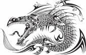 Fotografia drago doodle schizzo tatuaggio vettoriale