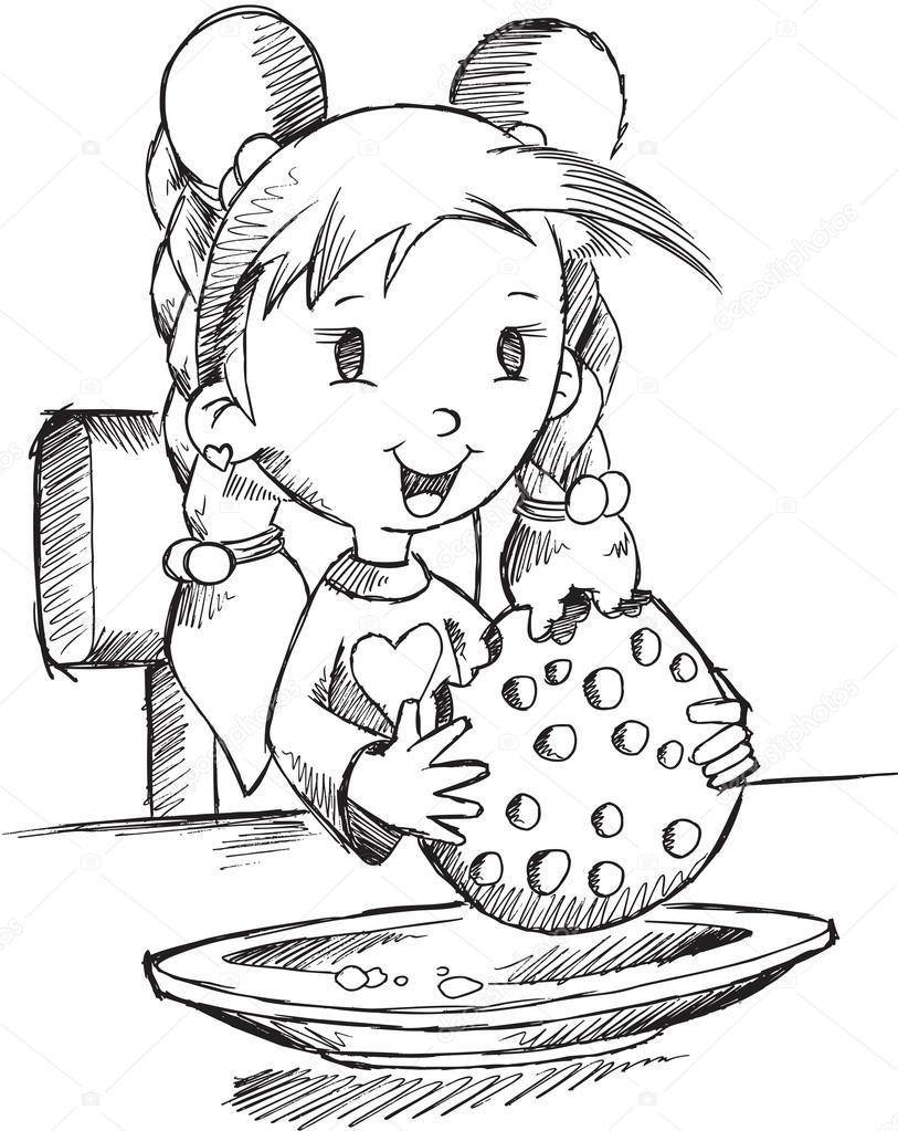 Imágenes Una Niña Desayunando Para Colorear Chica Comiendo Arte