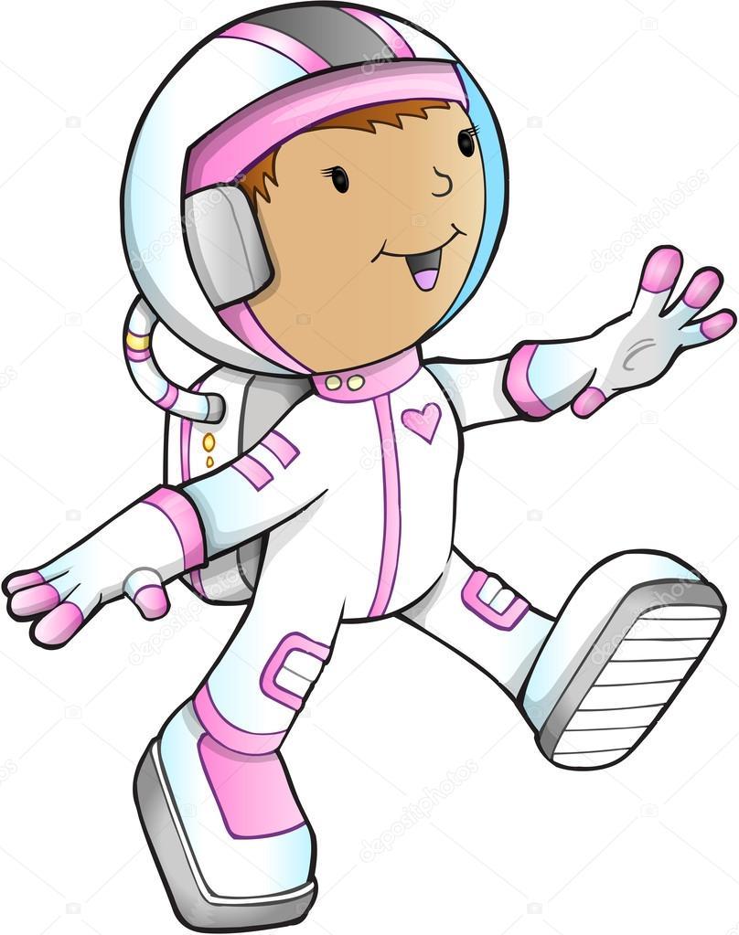 かわいい女の子宇宙飛行士ベクトル イラスト ストックベクター