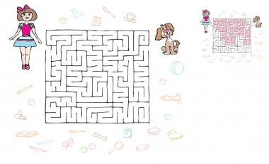 maze girl and puppy