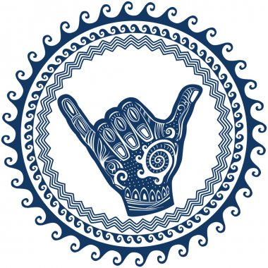 Shaka hand sign in round wave ornament