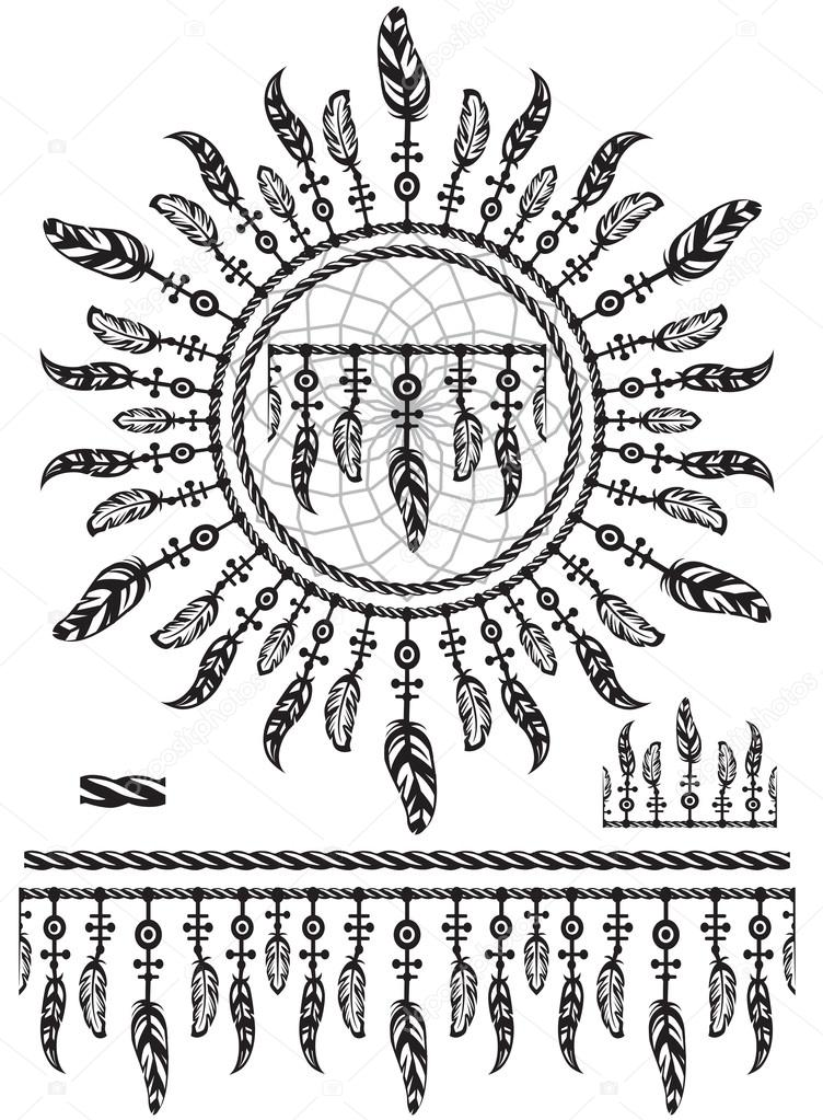Pattern brushes with feathers and rope