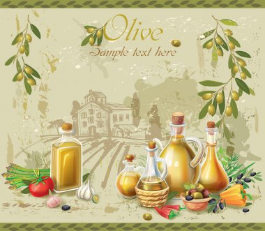 Olive oil and olives against country landscape