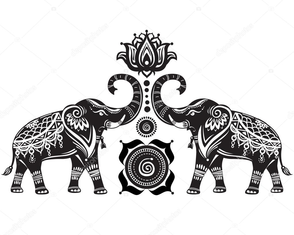 Stylized decorated elephants and lotus flower — Stock Vector ...