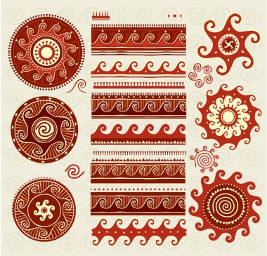 Folk ornaments elements