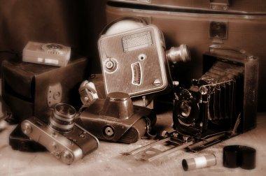Old retro cameras.
