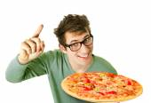 Photo Happy young man with pizza