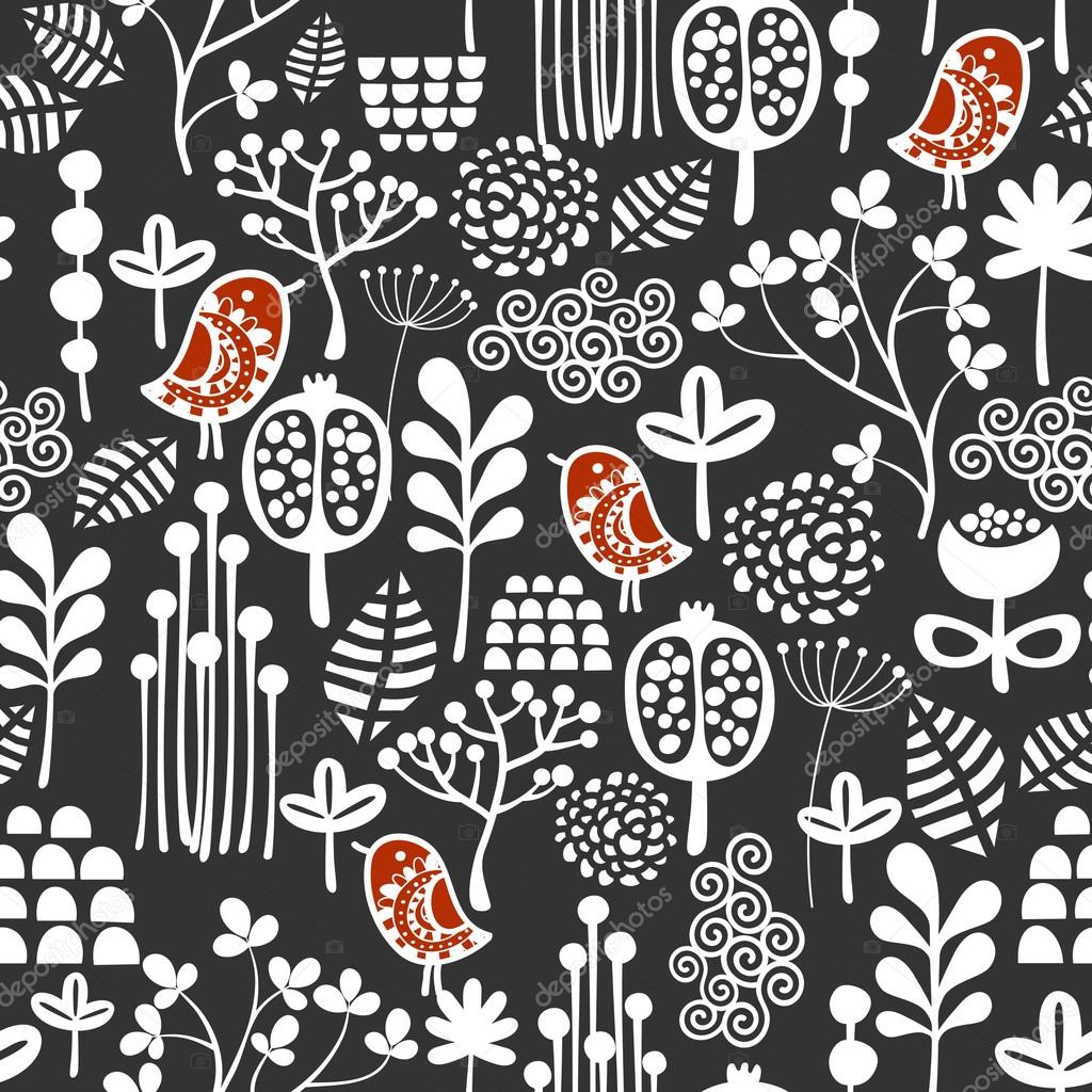 Birds and flowers seamless pattern.