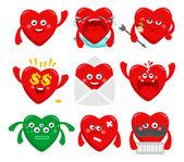 Set of cartoon hearts characters.