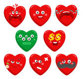 Collection of cartoon hearts characters.