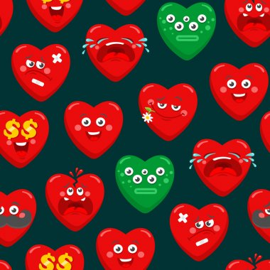 Seamless pattern with cartoon hearts.