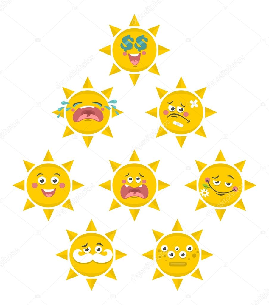 Set of yellow smile faces of sun.