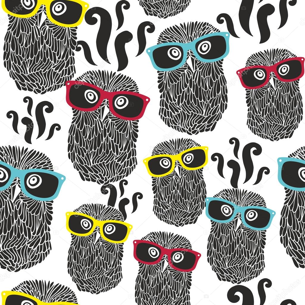 pattern with happy owls in sunglasses.