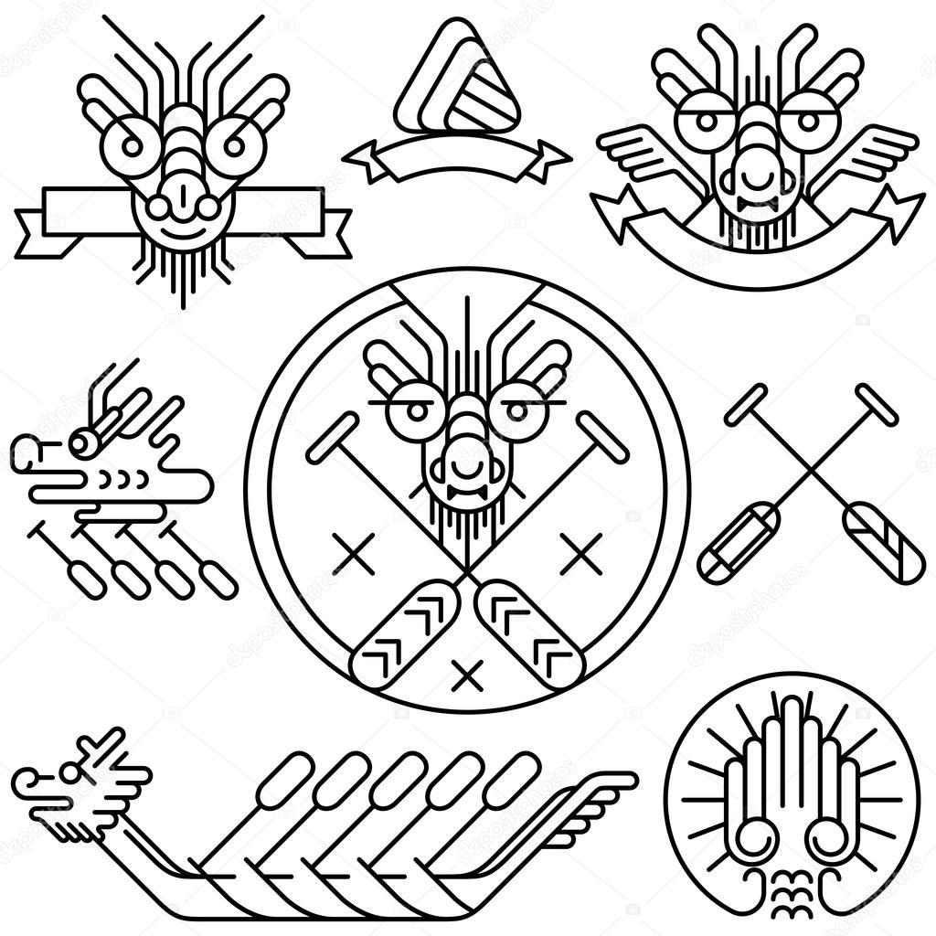 Dragón Dibujo icono para el festival del bote del dragón chino ...