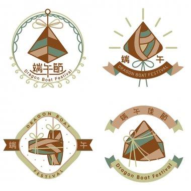 Chinese rice dumpling dragon boat festival icon set