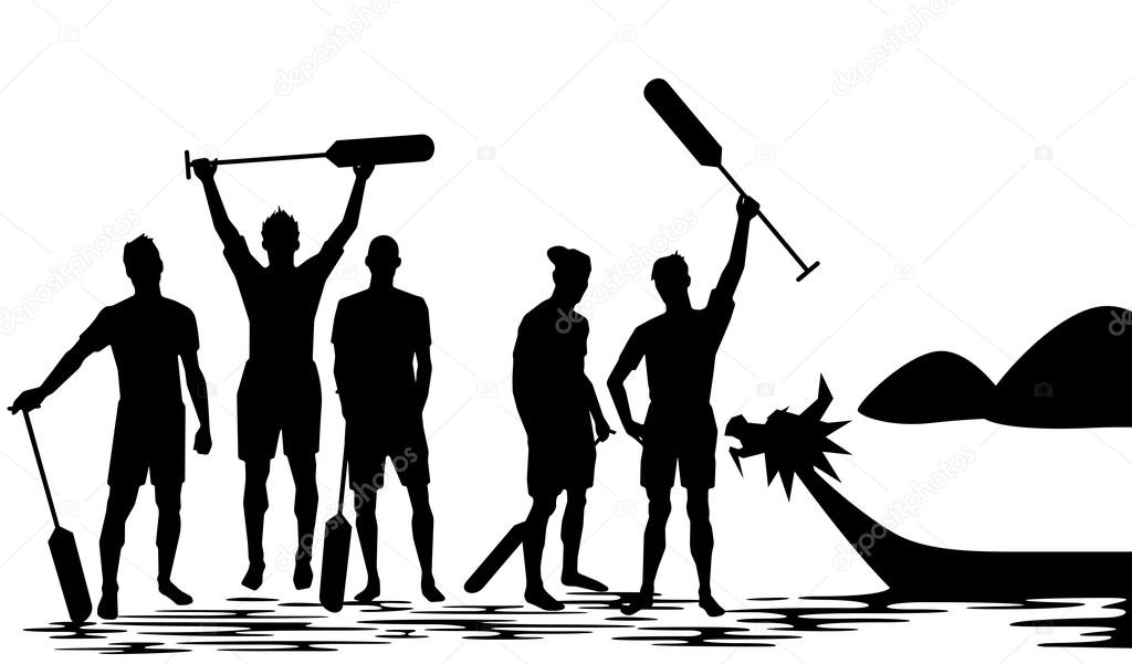 Dragon Boat Crew Winning Silhouette Illustration Stock Vector
