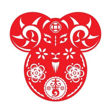 Chinese tilting Goat doll illustration