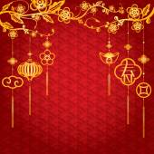 Fotografie Chinese New Year Background mit Goldene Dekoration