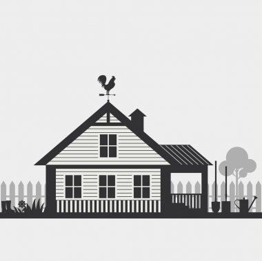 silhouette of country house