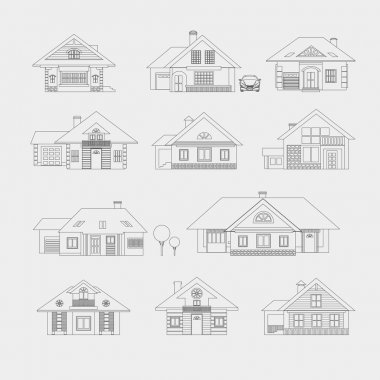 Silhouette drawing of country houses