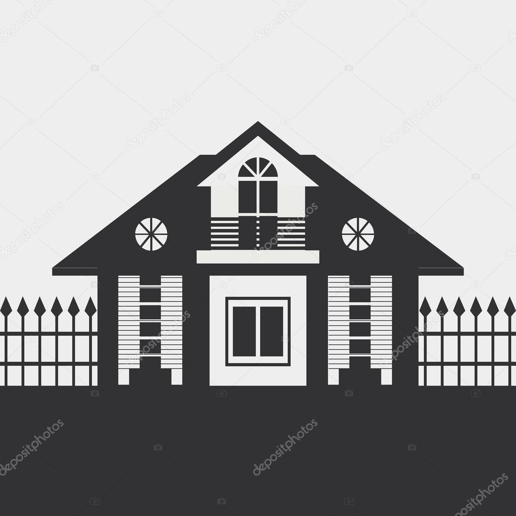 Silhouette Of Country House Stock Vector Alfaolga