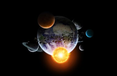 Solar system on office background