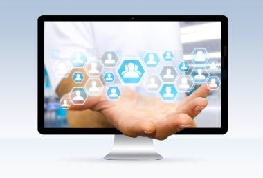 Businessman using digital social network interface