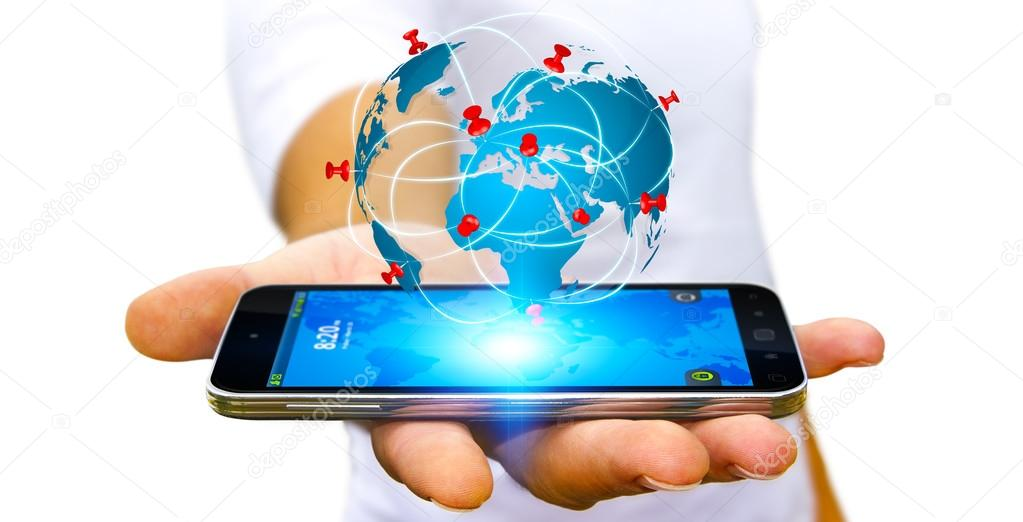 Businessman holding digital world map in his hands stock photo businessman holding digital world map in his hands stock photo gumiabroncs Choice Image