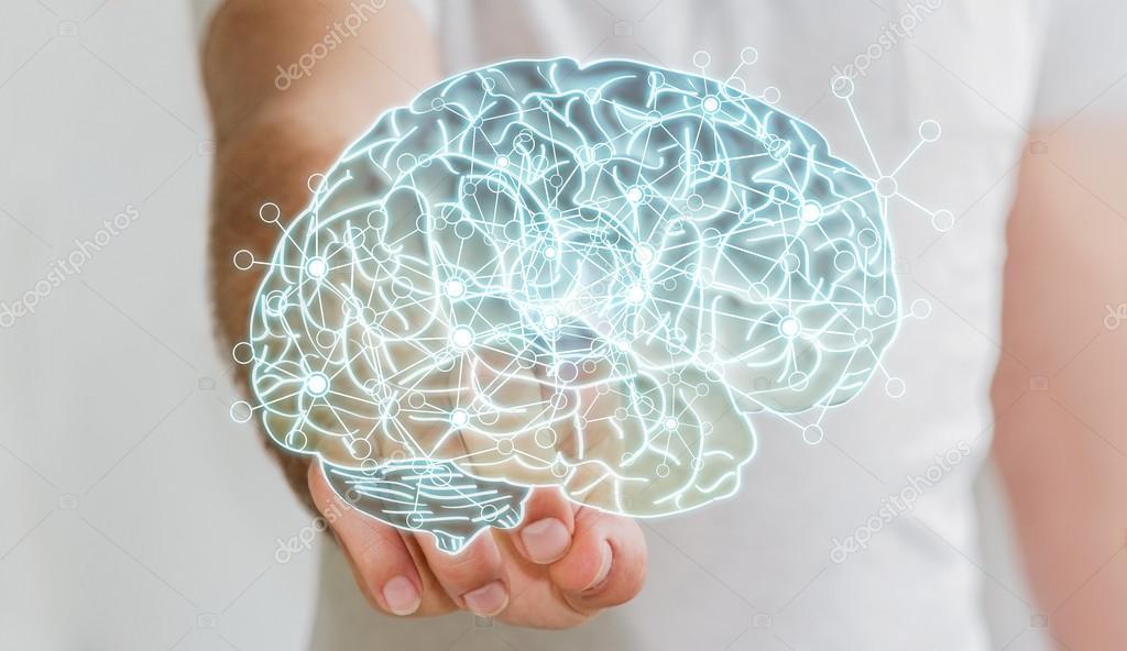 Hombre tocando el cerebro humano por rayos x con su dedo — Fotos de ...