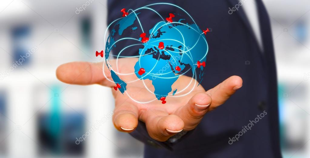 Businessman holding digital world map in his hands stock photo businessman holding digital world map in his hands stock photo gumiabroncs Image collections