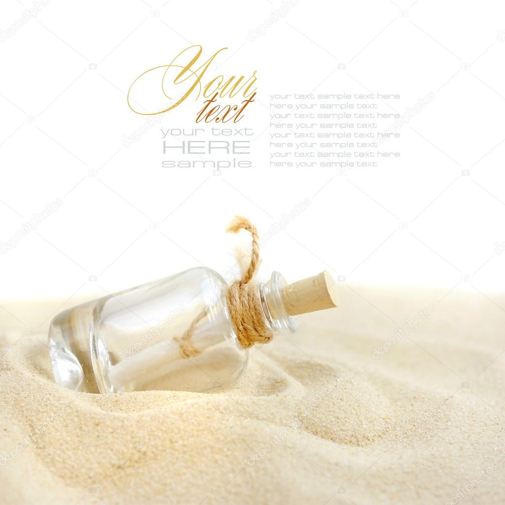 a letter in a bottle on sand beach photo by nataliiamelnyc